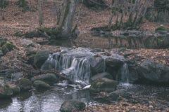 waterval over de rotsen in rivierstroom in bos in de recente herfst met naakte bomen en grijze kleuren in aard - uitstekende oude stock afbeelding