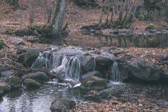waterval over de rotsen in rivierstroom in bos in de recente herfst met naakte bomen en grijze kleuren in aard - uitstekende oude stock foto's