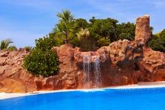 Waterval in park in Tenerife - Kanarie Spanje Royalty-vrije Stock Foto's