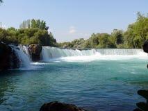 Waterval in rivier Manavgat Stock Foto