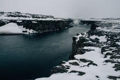 Waterval selfoss in wintern Stock Afbeelding