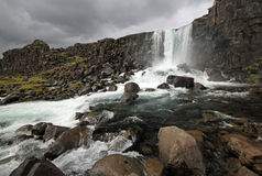 Waterval in Thingvellir Royalty-vrije Stock Afbeelding