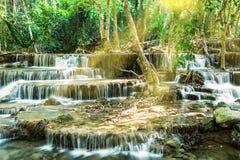 Waterval in Tropisch bos, Kanchanaburi Stock Foto