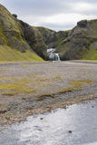 Waterval in Vik in IJsland Royalty-vrije Stock Fotografie