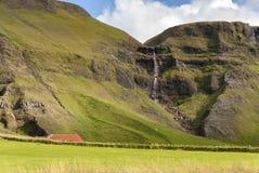 Waterval in Vik in IJsland Royalty-vrije Stock Afbeelding
