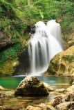 Waterval, Vintgar-Canion, Slovenië Stock Foto's