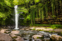 Waterval in Wales Stock Foto's