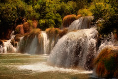 Watervallen bij Krka Nationaal Park, Kroatië Stock Afbeeldingen