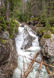 Watervallen bij stroom Studeny potok in Hoge Tatras, Slowakije Stock Fotografie