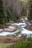 Watervallen bij stroom Studeny potok in Hoge Tatras, Slowakije Stock Foto
