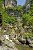 Watervallen dichtbij Xiaofeng-Rivier stock foto
