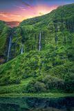 Watervallen in Flores-Eiland Stock Foto