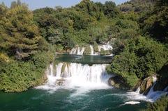 Watervallen, Krka Nationaal Park, Kroatië Stock Afbeeldingen