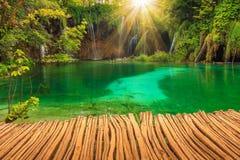 Watervallen in Plitvice-Meren Nationaal Park, Kroatië Stock Foto