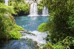 Watervallen van Ojos del Caburgua, Chili Royalty-vrije Stock Foto