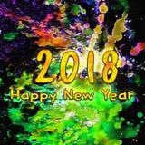 Waterverf 2018 Aantallen royalty-vrije illustratie