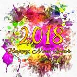 Waterverf 2018 Aantallen vector illustratie