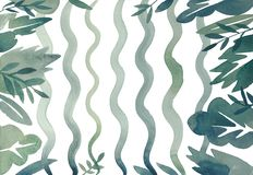 Waterverf abstract zeewier en onkruid, golvende blauwe en groene flora op witte achtergrond royalty-vrije stock foto's