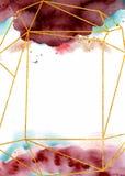 Waterverf abstracte achtergrond, hand getrokken watercolour Bourgondië en gouden textuur royalty-vrije illustratie
