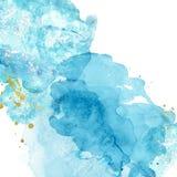Waterverf abstracte achtergrond met blauwe en turkooise plonsen van verf op wit Hand geschilderde textuur Imitatie van overzees royalty-vrije stock afbeeldingen