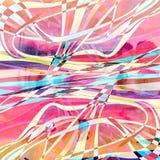 Waterverf abstracte achtergrond met verschillende golven en lijnen royalty-vrije stock foto