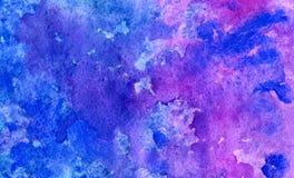 Waterverf abstracte blauwe en violette achtergrond Stock Afbeelding