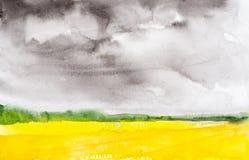 Waterverf abstracte illustratie van een Russisch gebied met een bos op de achtergrond vector illustratie