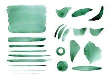 Waterverf abstracte overzeese groene plonsen, achtergrond, cirkle, stro Royalty-vrije Stock Foto