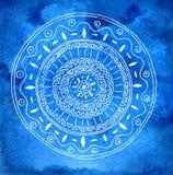 Waterverf achtergrondblauw met patroon Royalty-vrije Stock Foto