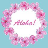 Waterverf Aloha Frame van roze tropische bloemen royalty-vrije illustratie