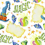 Waterverf artistiek hand getrokken naadloos patroon met reeks magische elementen op witte achtergrond stock illustratie