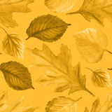 Waterverf Autumn Abstract Background Naadloos patroon met gele de herfstbladeren De herfstornament Waterverfbladeren Stock Fotografie