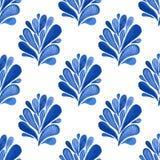 Waterverf blauw bloemen naadloos patroon met bladeren Vectorachtergrond voor textiel, behang, het verpakken of stoffenontwerp Royalty-vrije Stock Foto's