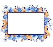 Waterverf blauw en gouden bloemenkader Elegant waterverfkader! royalty-vrije illustratie
