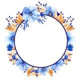 Waterverf blauw en gouden bloemenkader Elegant waterverfkader! stock illustratie
