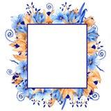 Waterverf blauw en gouden bloemenkader Gouden Blauw waterverfkader! stock illustratie