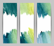 Waterverf blauwe banners stock illustratie