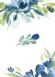 Waterverf blauwe bloemen met grijs gras op witte achtergrond voor Stock Foto