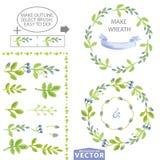 Waterverf blauwe bloemenborstels en kroon vastgesteld malplaatje vector illustratie