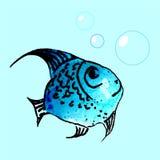 Waterverf blauwe vissen Stock Afbeeldingen