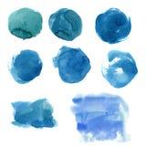 Waterverf blauwe vlek Hand geschilderde abstracte die banner op witte achtergrond wordt geïsoleerd Illustratie voor ontwerp, druk Royalty-vrije Stock Fotografie