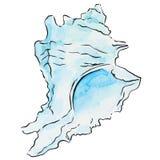 Waterverf blauwe zeeschelp Royalty-vrije Stock Afbeeldingen