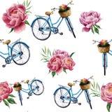 Waterverf bloemen en fiets naadloos patroon op witte achtergrond Illustratie voor ontwerp, textiel, druk en achtergrond stock illustratie