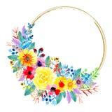 Waterverf bloemen kleurrijke kroon stock illustratie