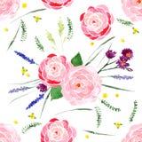 Waterverf bloemen naadloos Stock Afbeelding