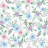 Waterverf bloemen naadloos patroon stock illustratie