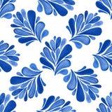 Waterverf bloemen naadloos patroon met blauwe bladeren Vectorachtergrond voor textiel, behang, het verpakken vector illustratie