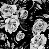 Waterverf bloemen naadloos patroon met roze rozen, bladeren en knoppen stock illustratie