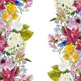 Waterverf bloemen naadloze grens vector illustratie