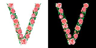 Waterverf bloemenalfabet van rozen, Monogram, hoofdletter V die op zwart-witte achtergrond wordt geïsoleerd royalty-vrije illustratie